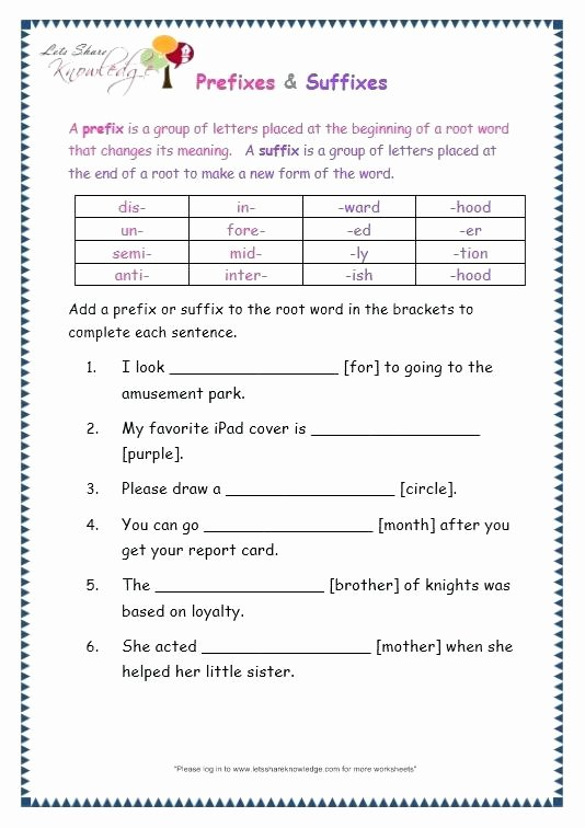 Suffixes Worksheets for 3rd Grade Suffix Er Worksheets