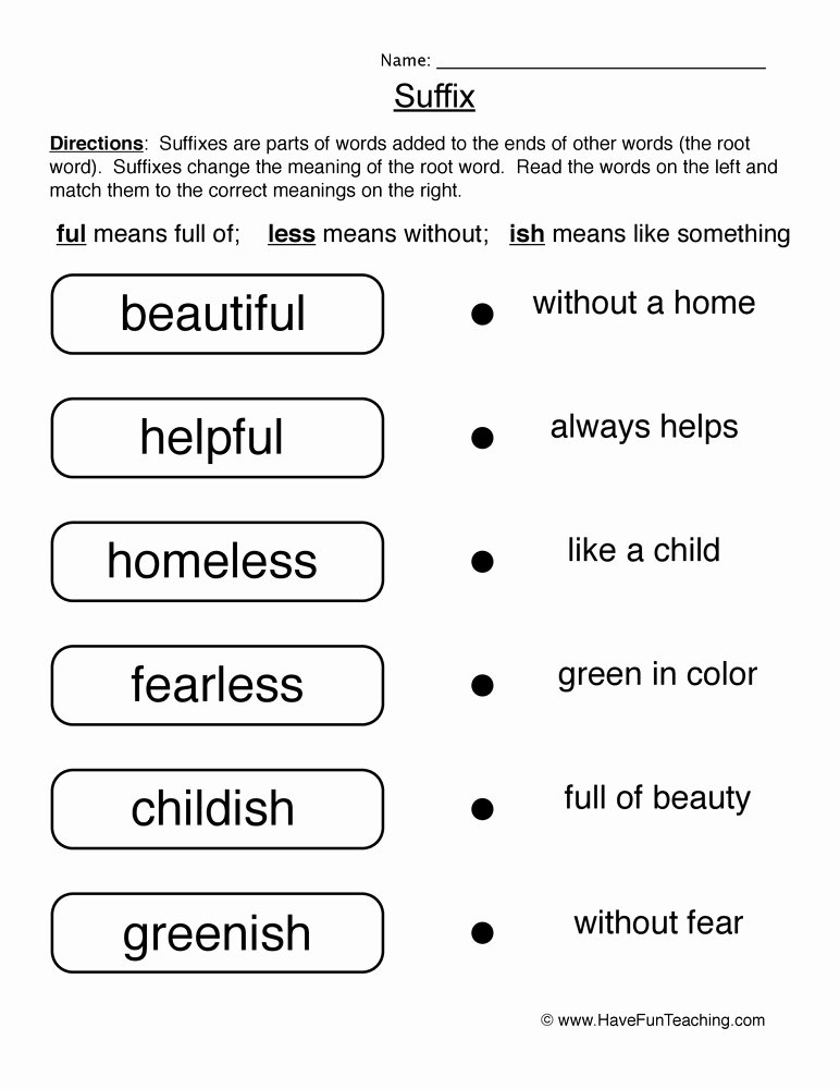 Suffixes Worksheets Pdf Prefix and Suffix Coloring Pages