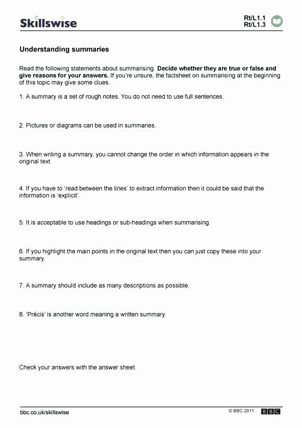 Summary Worksheets 5th Grade 5th Grade Science Worksheets Printable Free Summarizing
