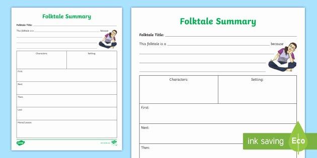 Summary Worksheets 5th Grade Folktale Summary Worksheet Folktales Fables Myths