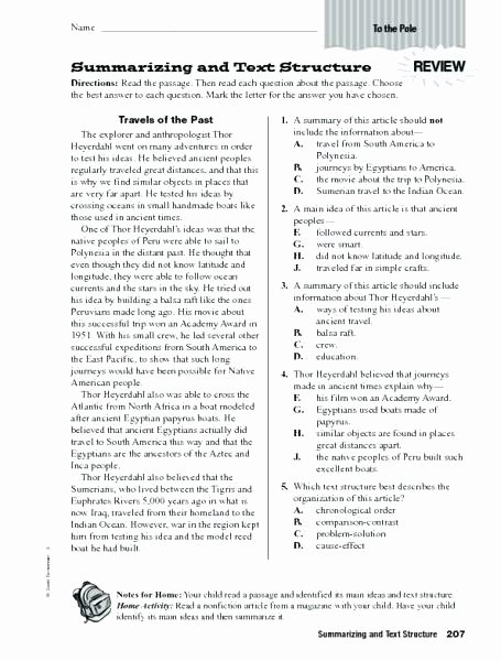 Summary Worksheets 5th Grade Nonfiction Worksheets 5th Grade