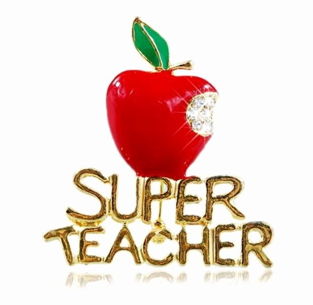 Super Teacher Log In 2019 New Fashion Hot Sale Brand Gold Plated Super Teacher Brooch Pins Crystal Red Apple Brooches for Teacher S Day Gifts 6pcs Lot