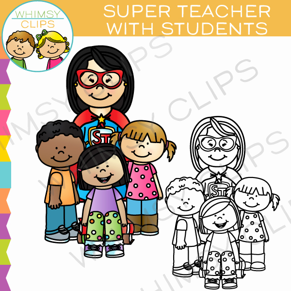 Super Teacher Login Super Teacher with Students Clip Art