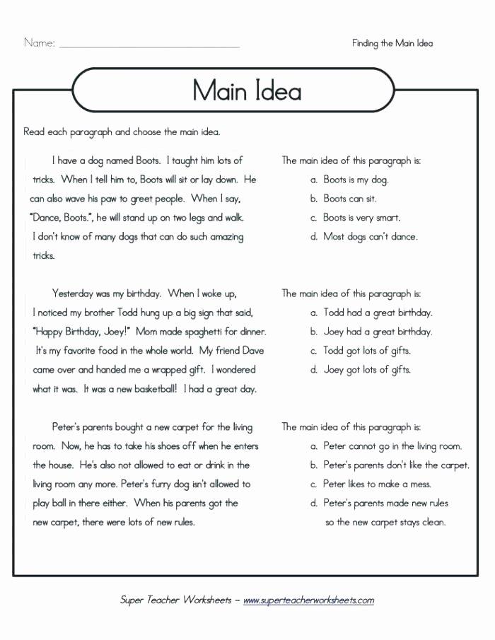 Super Teacher Worksheets Christmas Identifying Main Idea Worksheets High School Grade S