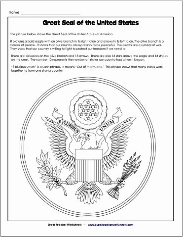 Super Teacher Worksheets Free Account Great Seal Of the United States Worksheet