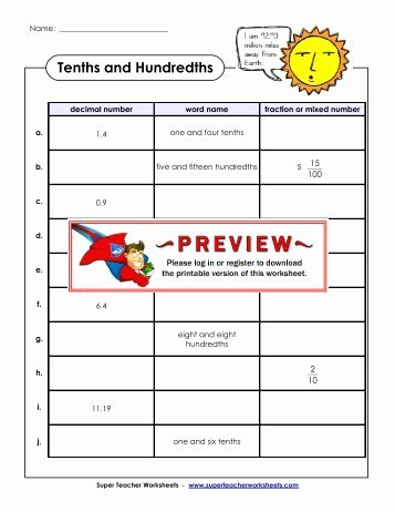 tenths and hundredths super teacher worksheets