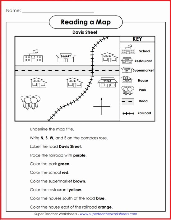 Superteacherworksheets Com Username Password Basic Map Skills Davis Street Activity