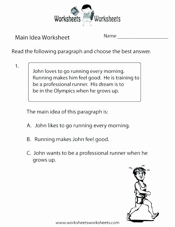 Supporting Details Worksheet Free Main Idea Worksheets for Kindergarten