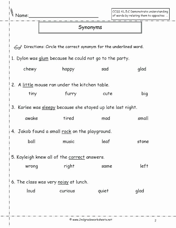 Synonyms Worksheet First Grade Homophones Worksheets for Grade 5
