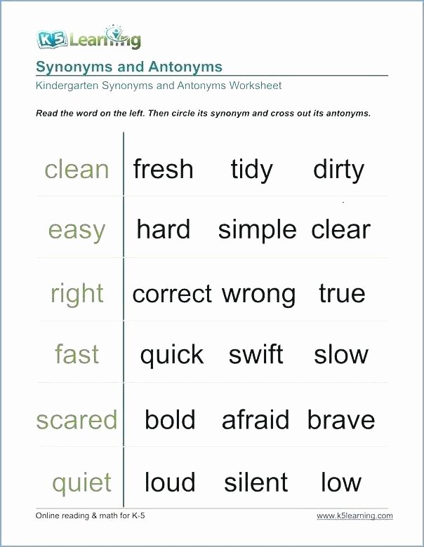 Synonyms Worksheet First Grade Opposites Worksheets for Grade 2 Similar Synonyms First 1