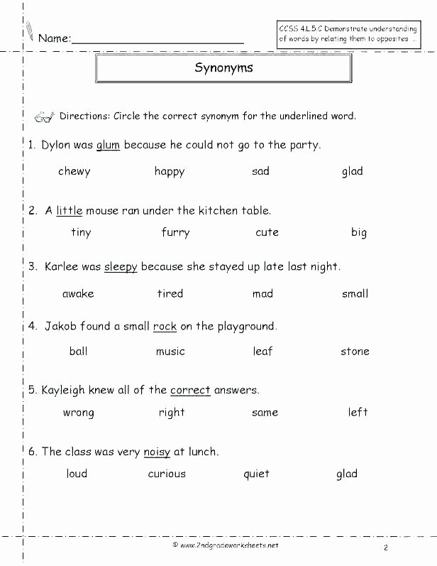 Synonyms Worksheet First Grade Synonyms Worksheets 2nd Grade – Petpage