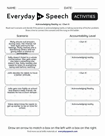 Teaching social Skills Worksheets social Skills Scenarios Worksheets