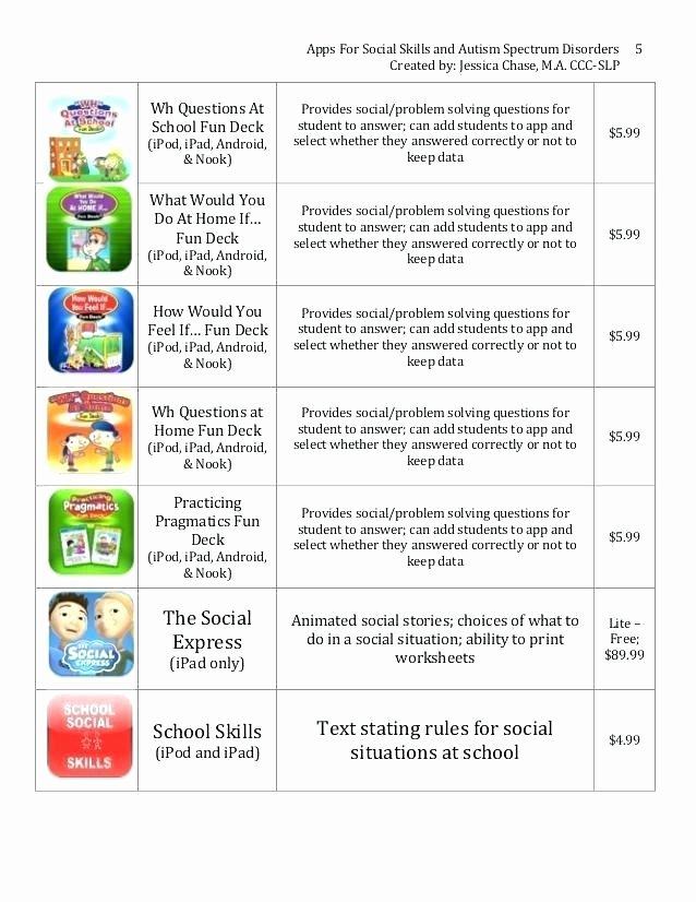 Teaching social Skills Worksheets social Skills Worksheets for Autism