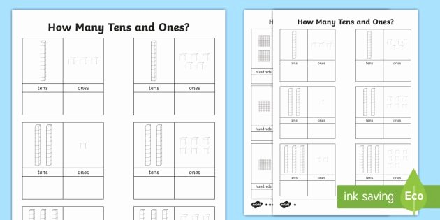 Ten Frame Worksheets First Grade Unique Tens and Es Worksheet Teaching Maths Ks1