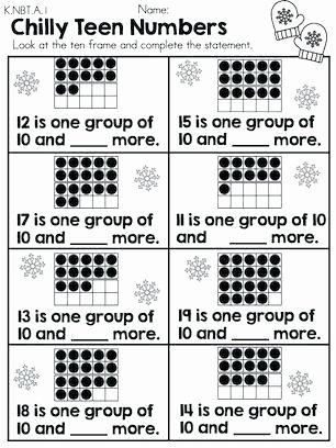 Ten Frame Worksheets for Kindergarten Chilly Teen Numbers Part the Winter Kindergarten Math