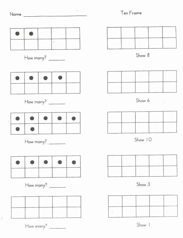 Ten Frame Worksheets Kindergarten 10 Frame Template Printable – Thanksteam