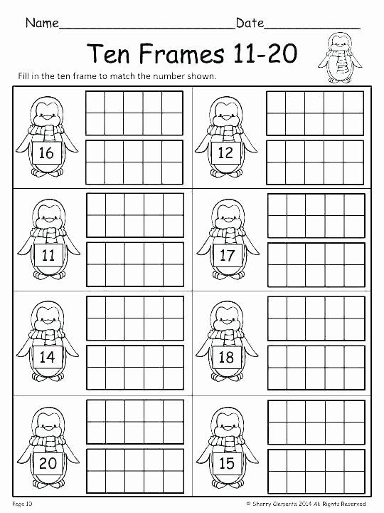 Ten Frame Worksheets Kindergarten Free Printable Frames – Primeraplana