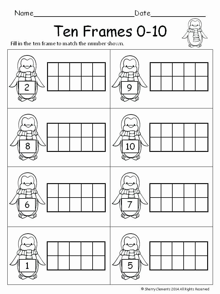 Ten Frame Worksheets Kindergarten Free Printable Grade Math Worksheets Ten Frame for First