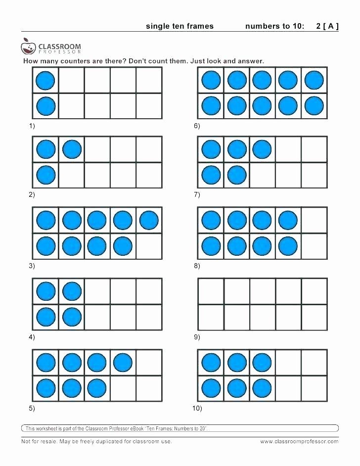 Ten Frames Worksheets Ten Frame Worksheets for First Grade Free Shamrock Ten