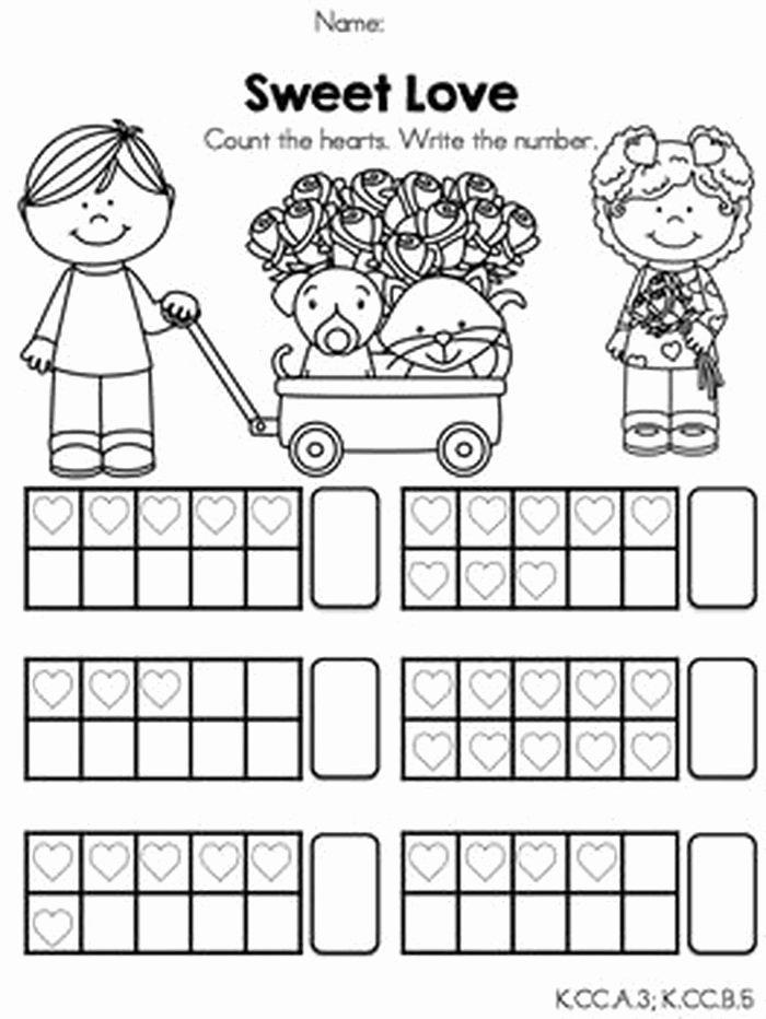 Ten Frames Worksheets Valentines Day Math Worksheets for Kindergarten Antihrap