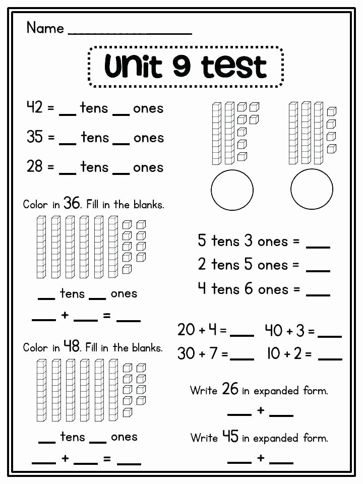 Tens and Ones Worksheets Kindergarten Counting by Tens Worksheets First Grade