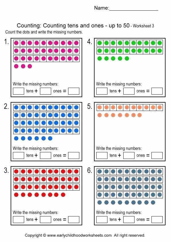 Tens and Ones Worksheets Kindergarten Counting Tens and Es Worksheets Concept Tens and Es