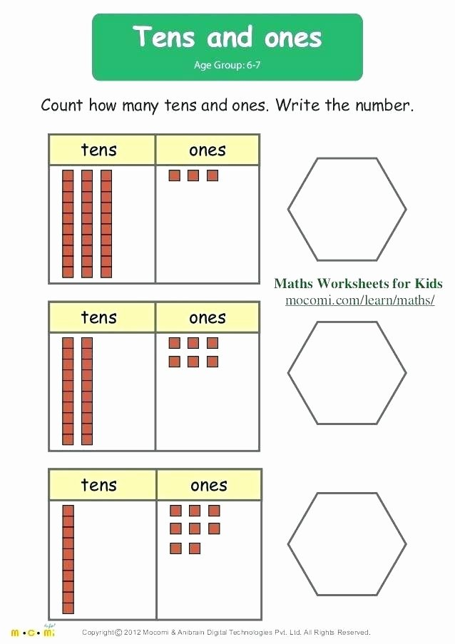 Tens and Ones Worksheets Kindergarten Counting Tens and Ones Worksheets
