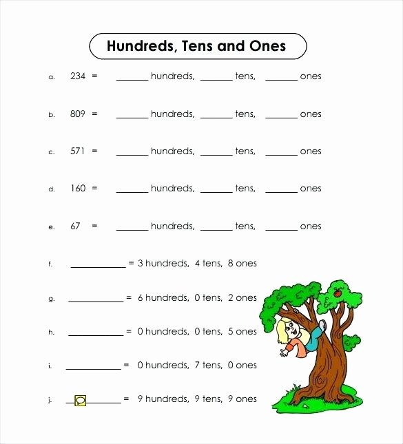 Tens and Ones Worksheets Kindergarten Hundreds Tens and Es Sample Worksheet 8 Kindergarten