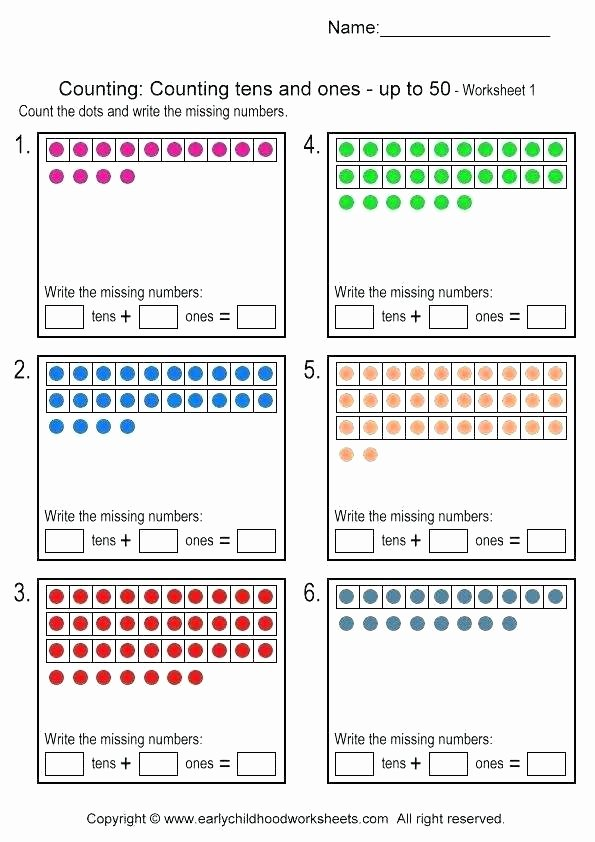 Tens and Ones Worksheets Kindergarten Main Ideas Reading Worksheets Concept Tens and Es