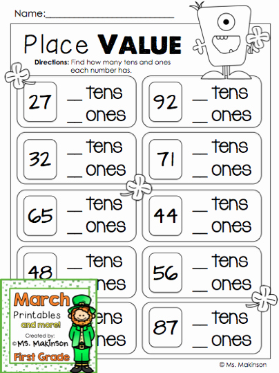 Tens and Ones Worksheets Kindergarten March Printables First Grade Literacy and Math