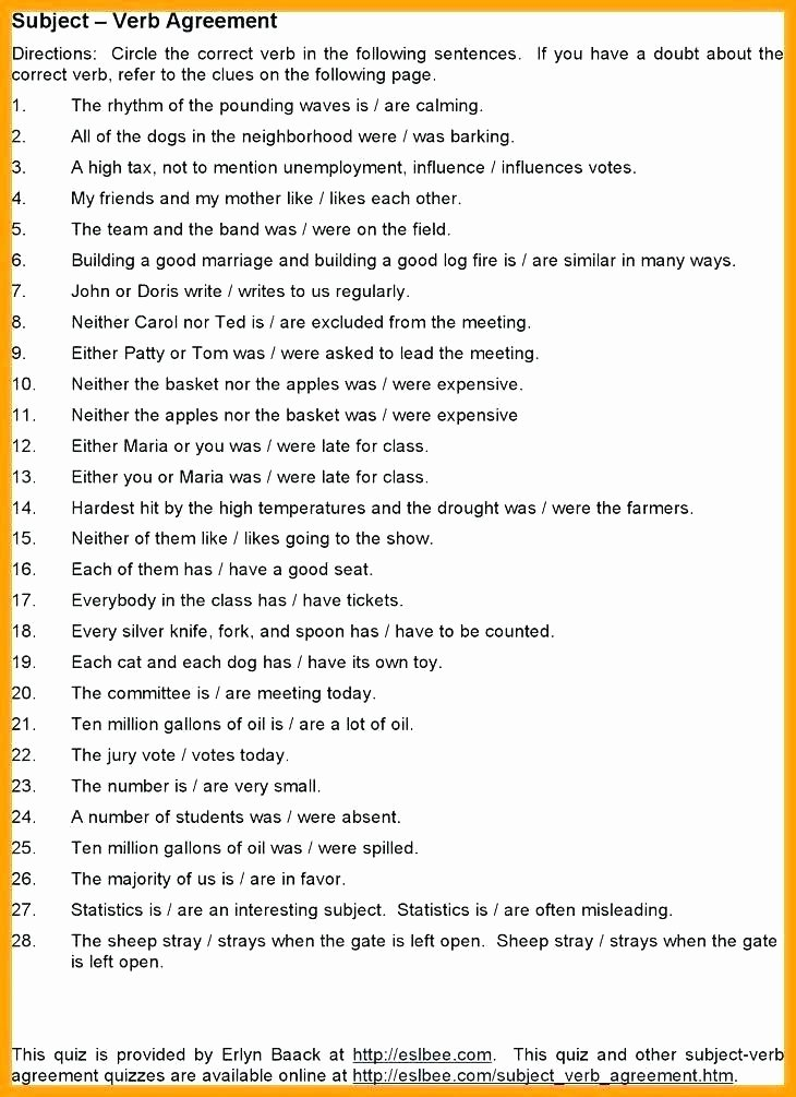 Tense Agreement Worksheet Best Of Subject Verb Agreement Worksheets with Answers
