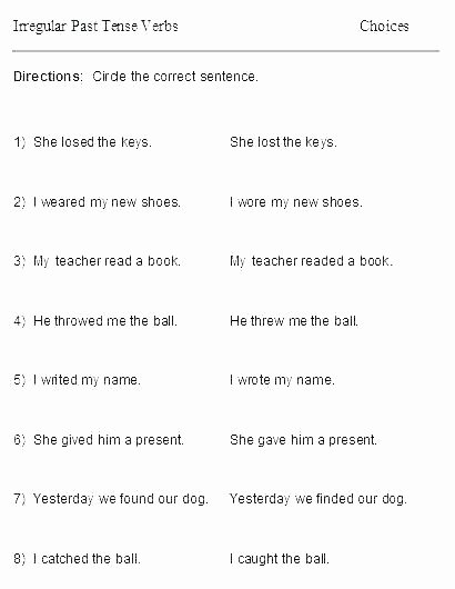 Tenses Worksheets for Grade 5 Past Tense Worksheets for Grade 4 Verbs and Tenses