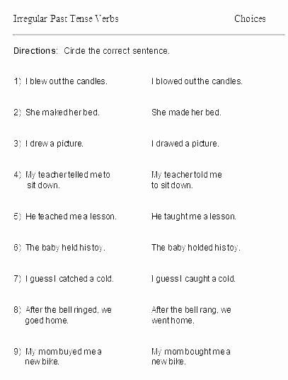 Tenses Worksheets for Grade 6 Past Tense Worksheets for Grade 2 Past Tense Worksheets Past