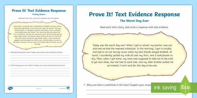 Text Evidence Worksheets 3rd Grade Prove It Text Evidence Worksheet Reading Response