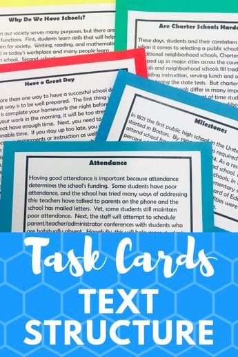 Text Structure Worksheets Grade 4 Non Fiction Text Structures Student Task Cards