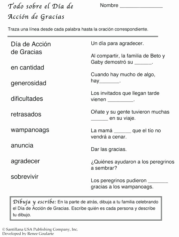 Thanksgiving Comprehension Worksheets Thanksgiving Worksheets Spanish Printable High School