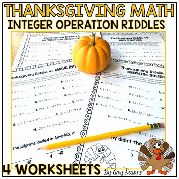Thanksgiving Math Worksheets Middle School Elegant Adding and Subtracting Integers Thanksgiving Worksheets