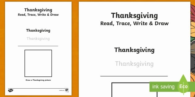 Thanksgiving Phonics Worksheets Thanksgiving Read Trace Write and Draw Worksheet
