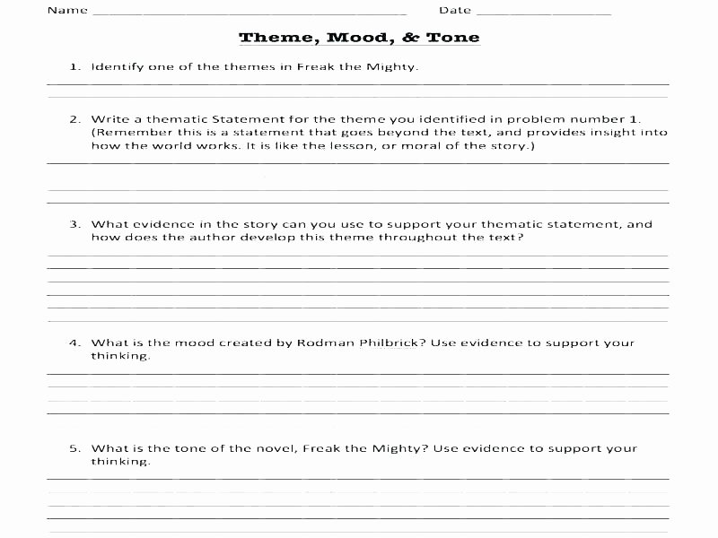 Theme Worksheet Middle School Context Clues 1 Worksheets Grade Mood Middle School
