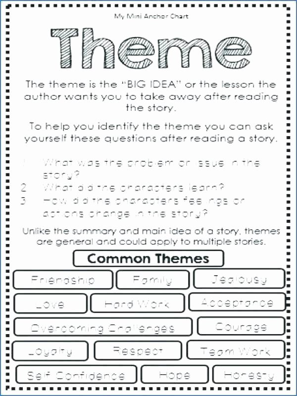 Theme Worksheet Middle School Finding the Main Idea Worksheets
