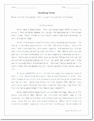 Theme Worksheet Middle School Finding theme Worksheets