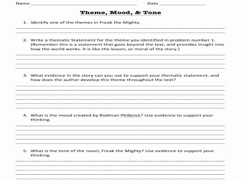 Theme Worksheet Middle School Literature Worksheets