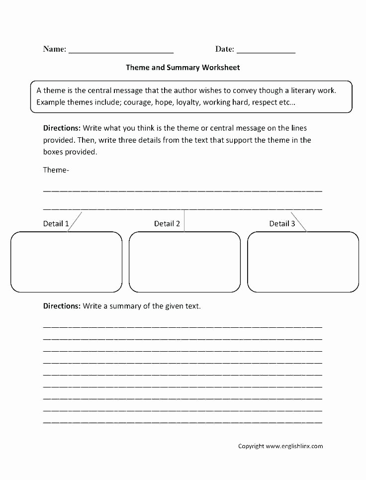 Theme Worksheets 2nd Grade Point Of View Worksheets 3rd Grade