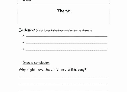 Theme Worksheets for Middle School Identifying theme Worksheets