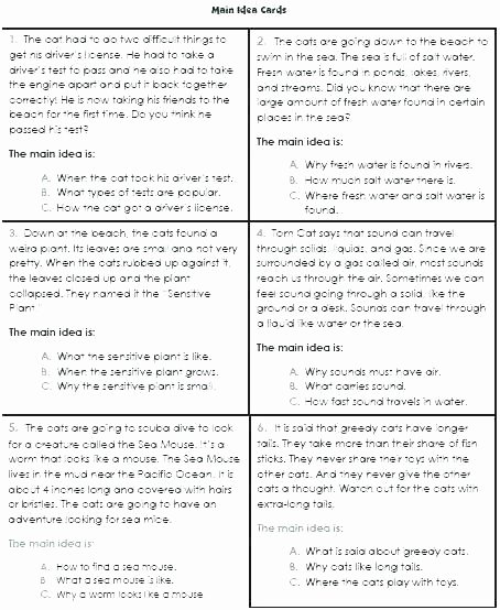 Theme Worksheets Grade 5 Finding the Main Idea Worksheets