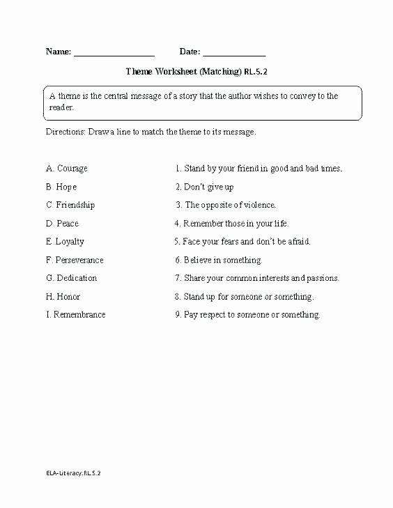 Theme Worksheets Grade 5 theme Reading Worksheets
