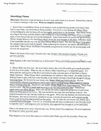Theme Worksheets Middle School Pdf Elegant Identifying theme Worksheets