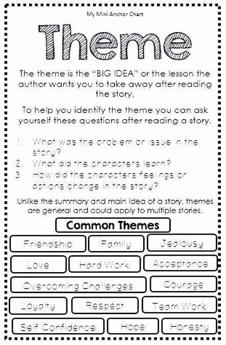 Theme Worksheets Middle School Pdf Fresh Main Idea Worksheets Pdf