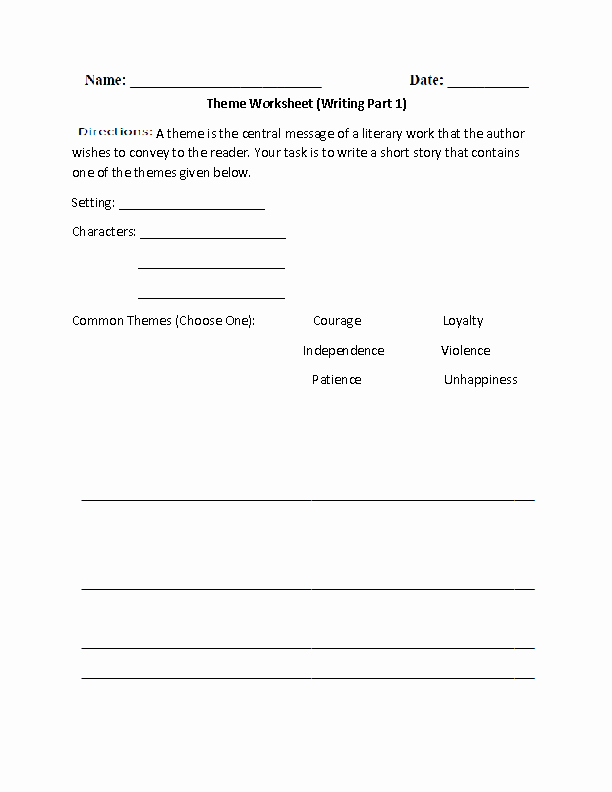 Theme Worksheets Middle School Story Writing topics for Grade 6