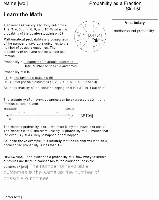 Theoretical Probability Worksheet with Answers Probability Worksheets 6th Grade